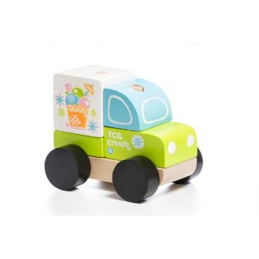 Drewniany samochodzik lodziarnia